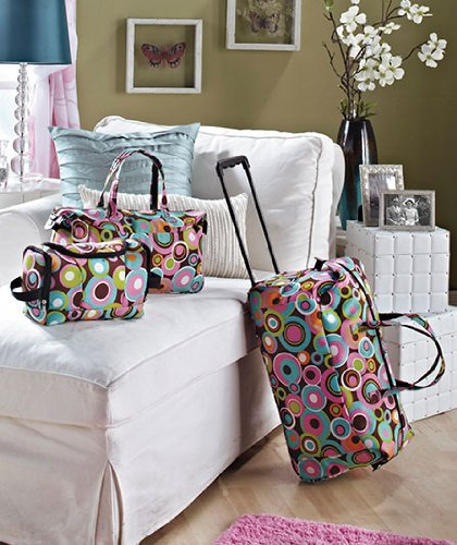 3 Piece Luggage Set - Circles (Rolling Duffel Bag, Tote & Toiletry...