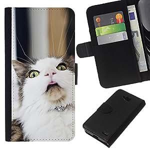 EJOY---La carpeta del tirón la caja de cuero de alta calidad de la PU Caso protector / LG OPTIMUS L90 / --LOL Funny Cat