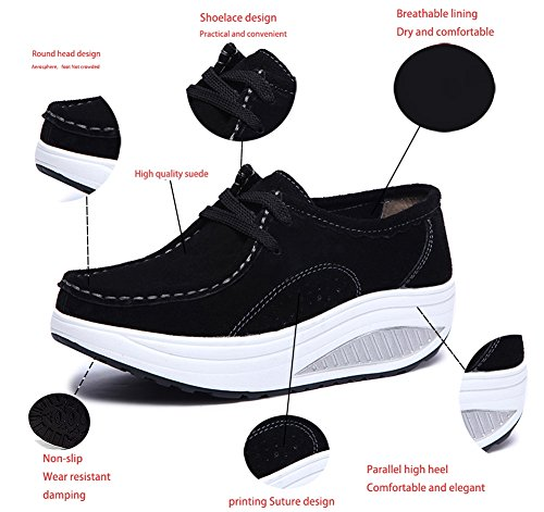 Femmes Fitness Mode De Chaussures Compensées Plate Respirantes Noir Baskets Pour forme Sneakers Gym Minceur Running Femme coton Marche Casual Sport 1r1wBxqWX6