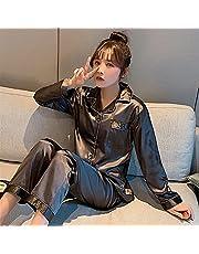 Pyjama's Zijde satijn pyjama voor dames pyjama set lange mouw nachtkleding vrouwen set pyjama pak vrouwelijke twee stuk set loungewear plus size (Color : G806 coffee, Size : 5XL 85-95KG)