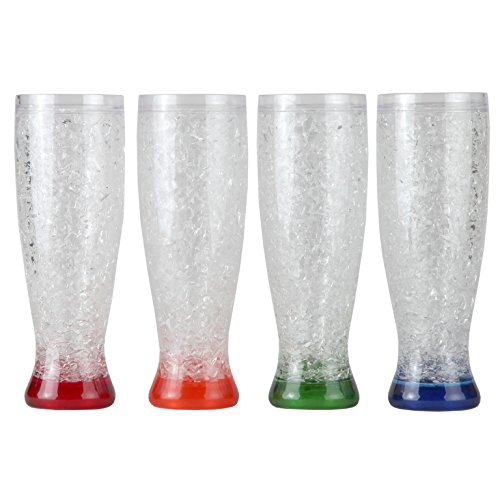 (Lily's Home Double Wall Gel-Filled Acrylic Freezer Pilsner Shape Beer Glasses, Great for Enjoying Brews at BBQs and Parties, Clear with Assorted Color Bases (16 oz. Each, Set of 4))