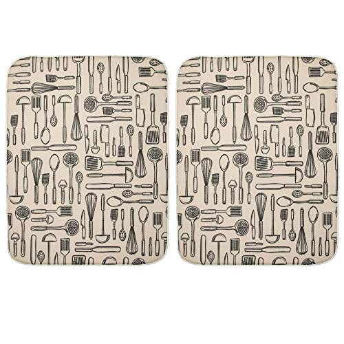 mDesign Extra Large Reversible Counter and Dish Mat for Kitchen Dish Drainer - Pack of 2, Wheat/Ivory
