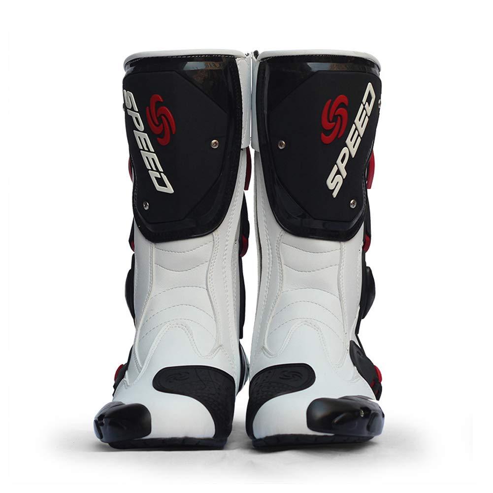 Meiyiu Botas de Carreras de Motos Botas de Motocross Profesionales Botas de Cuero para Motociclistas Botas de Carreras de Motos Speed Negro 44