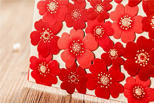 Wishmade New Red Sunflower Style Laser cut Wedding invitations cards, Luxury Embossing birthday invitation card (100)