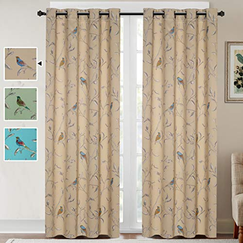 H.VERSAILTEX Blackout Grommet Curtains for Living Room Noise Reducing Thermal Insulated Window Curtain Drapes for Dining Room, Country Style Birds Taupe Pattern (2 Panels, 52 x 84 Each Panel) (Curtains Blackout Pretty)