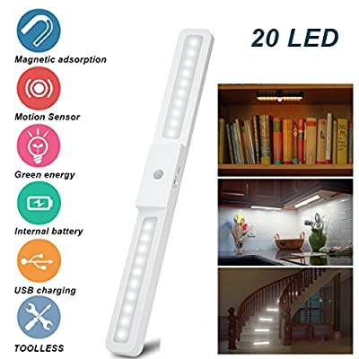 Under Cabinet Lighting, 2 Pack Under Counter Lights Wireless Motion Sensor Stick-on Light Portable 20 LED Rechargeable Closet Light Kitchen Lighting Tap Night Light for Stairs Wardrobe