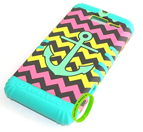 - Cellphone Trendz Hybrid Rocker Case for Motorola DROID RAZR M (XT907, 4G LTE, Verizon) - Chevron Anchor Design Hard Shell (Teal Anchor Yellow Green Chevron on Teal)