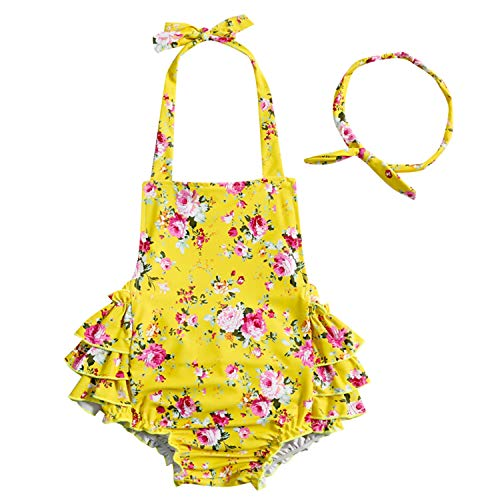 - China Rose 50's Floral Ruffles Rompers Backless Dress Bathing Suit Swimwear (Medium (1-2 Years Old), Yellow)