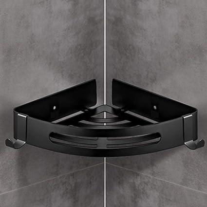 Estante esquinero para baño, ducha esquinera con ganchos, estante de pared para accesorios de ducha, cocina, sin necesidad de taladrar con pegamento autoadhesivo, No nulo, negro, triangle: Amazon.es: Hogar