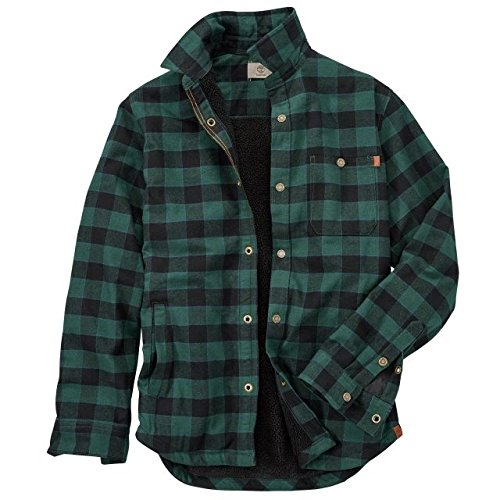 - Timberland Men's Long Sleeve Sherpa Lined Overshirt Green Gables Yarn-Dye Small