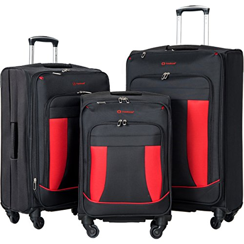 Travelhouse 3 Piece Softshell Deluxe Expandable Spinner Luggage Set (Black with Red) by Merax