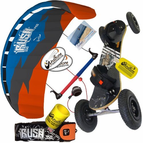 HQ Rush Pro V 350 3.5M Kite & Land Board Mountainboard Kiteboarding Bundle : (5 Items) Includes All Terrain Landboard + WB Decals + WindBone Key Chain + WB Koozie : Kite and ATB Mountainboard Package