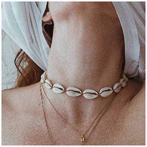 ACC PLANET Summer Choker Cowrie Natural Shell Necklace Wakiki Hawaii Conch Beach Choker Handmade Boho Natural Seashell Jewelry for Women