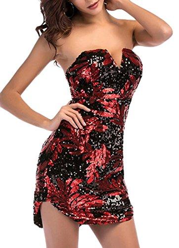 Red Club Top Neck Bandeau Sequin Mini Dress Women's Bodycon Tube Domple Sexy V Night vO4Fnx8gq
