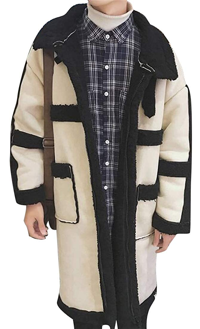 Mstyle Mens Winter Lamb Wool Lined Thicken Faux Suede Warm Contrast Quilted Jacket Coat Outerwear