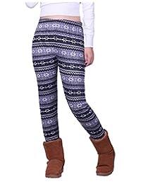 HDE Women's Winter Leggings Warm Fleece Lined Thermal High Waist Patterned Pants