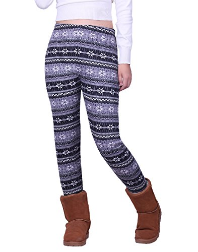 (HDE Women's Winter Leggings Warm Fleece Lined Thermal High Waist Patterned Pants,Black Gray Snowflakes,X-Large (US 16))