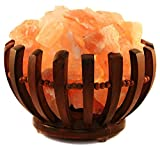 Genuine Himalayan Salt Lamp - Wooden Basket''Vitamin of the Air'' UL- approved Cord, Dimmer and 15-Watt Light Bulb