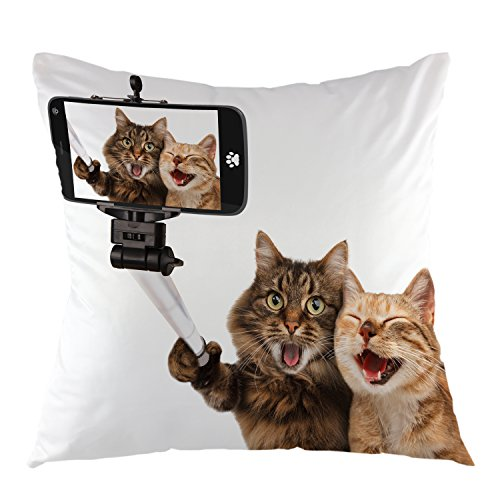 oFloral Throw Pillow Cover Funny Cats Taking A Selfie Pillow Case Square Cushion Cover for Sofa Couch Home Car Bedroom Living Room Decorative 18