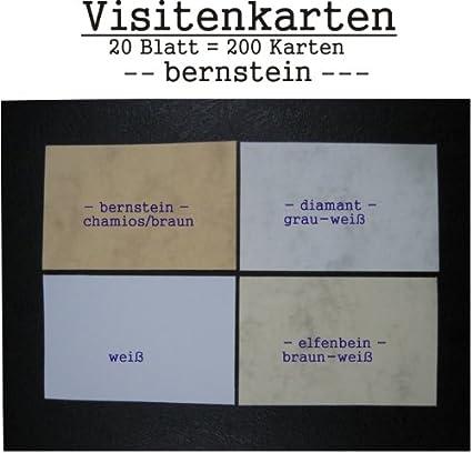200 Visitenkarten Bernstein Chamios Braun Zum Selbstbedrucken 20 Blatt A 10 Karten A4 85 X 55 Mm Microperforiert