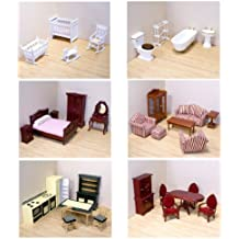 Melissa & Doug Deluxe Doll-House Furniture Bundle - Living Room Set, Kitchen, Bedroom, Bathroom, Nursery, and Dining Room