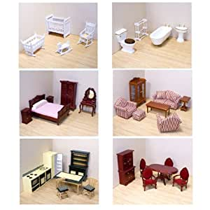 Melissa Doug Deluxe Doll House Furniture Bundle Living Room Set Kitchen