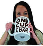 BigMouth Inc. One Cup of Coffee Gigantic Mug, Funny Huge Ceramic Gag Gift for Coffee Lovers, Holds up to 64 oz.