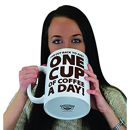 Bigmouth Inc One Cup Of Coffee Gigantic Mug Funny Huge Ceramic Gag Gift For Coffee Lovers Holds Up To  Oz