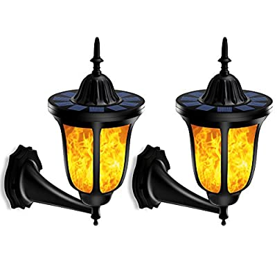 TomCare Solar Lights Solar Torches Lights Flickering Flames Wall Lights 96 LED Solar Wall Lights Outdoor Lighting Wireless Waterproof Wall Mounted Night Lights Lantern Design for Door Patio Yard(2) - Stylish Design - Special dancing flames, offering you a visual feast; The warm yellow colored light, adding a delightful glow all around. Also, the outer shape design is charming and fashionable, which is the best decoration for your house, garden and yard, etc. Solar-Powered & Energy-Saving - With built-in rechargeable battery, there is no need to use additional electrical tools. It is solar-powered, which can absorb solar energy and transfer it into electricity. Energy-saving and cost-efficient, ideal for use as outdoor lighting. Weather Resistant - Made of durable and weatherproof ABS plastic material, withstanding all weather conditions, no worries about raining, snowing and frosting. Suitable for outdoor lighting, which can be installed in your garden, pathway, driveway, backyard, etc. - patio, outdoor-lights, outdoor-decor - 51uK2sM7NVL. SS400  -