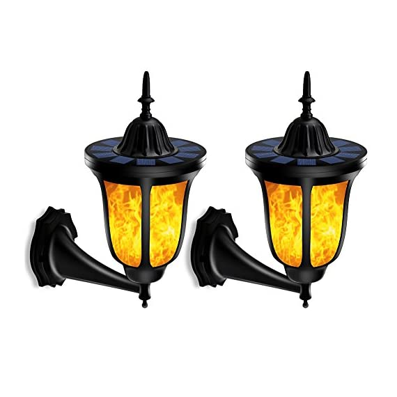 TomCare Solar Lights Solar Torches Lights Flickering Flames Wall Lights 96 LED Solar Wall Lights Outdoor Lighting Wireless Waterproof Wall Mounted Night Lights Lantern Design for Door Patio Yard(2) - Stylish Design - Special dancing flames, offering you a visual feast; The warm yellow colored light, adding a delightful glow all around. Also, the outer shape design is charming and fashionable, which is the best decoration for your house, garden and yard, etc. Solar-Powered & Energy-Saving - With built-in rechargeable battery, there is no need to use additional electrical tools. It is solar-powered, which can absorb solar energy and transfer it into electricity. Energy-saving and cost-efficient, ideal for use as outdoor lighting. Weather Resistant - Made of durable and weatherproof ABS plastic material, withstanding all weather conditions, no worries about raining, snowing and frosting. Suitable for outdoor lighting, which can be installed in your garden, pathway, driveway, backyard, etc. - patio, outdoor-lights, outdoor-decor - 51uK2sM7NVL. SS570  -