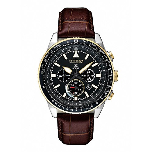 (Seiko Men's Prospex Solar Chronograph with Brown Leather Strap)