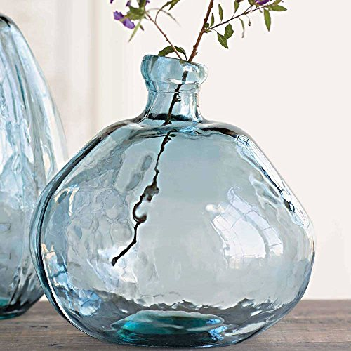Vivaterra Recycled Glass Balloon Vase - Round - 13 H x 14 Diameter- Smoky Blue ()