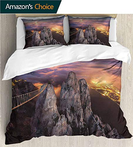VROSELV-HOME Full Queen Duvet Cover Sets,Box Stitched,Soft,Breathable,Hypoallergenic,Fade Resistant Duvet Cover with Pillowcases Child Bedding Sets,-Americana Full Moon Sunset Alps (104