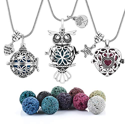 - 3 PCS Antique Silver Aromatherapy Essential Oil Diffuser Locket Necklace Pendant, Round/Heart Cage Locket Bulk with 10 Lava Stone Rock Beads Balls Set for Necklace Jewelry