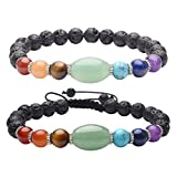 Top Plaza 7 Chakra Healing Bracelet with Real Stones, Lava Diffuser, Mala Meditation Mens Womens Religious Stretch Bracelets - Protection, Energy, Healing, Aromatherapy