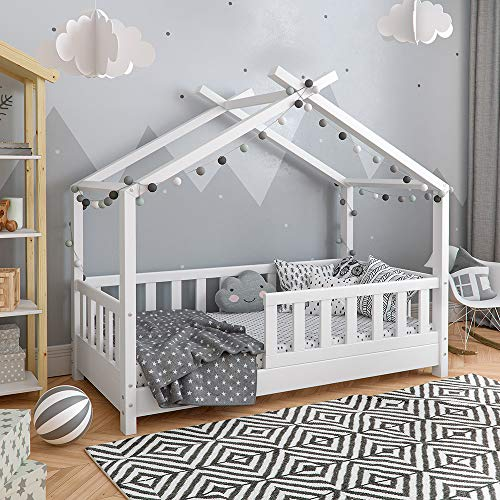 Vicco Kinderbett Hausbett Design 70x140cm Weiss Zaun Kinder Bett Holz