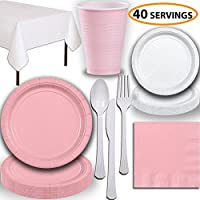 Disposable Party Supplies, Serves 40 - Light Pink and White - Large and Small Paper Plates, 12 oz Plastic Cups, heavyweight Cutlery, Napkins, and Tablecloths. Full Two-Tone Tableware Set
