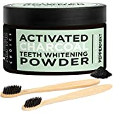 Activated Charcoal Teeth Whitening Powder + 2 Bamboo Toothbrushes | Natural & Organic Food Grade Coconut, Peppermint | Alpine Choice