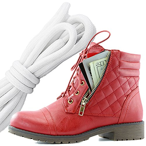 Dailyshoes Womens Militaire Lace Up Boucle Bottes De Combat Cheville Haute Carte De Crédit Exclusive Poche, Blanc Noir Rouge Pu