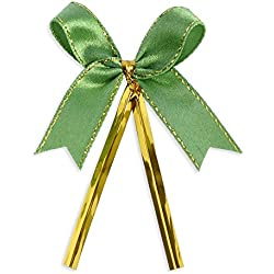 Ribbon Bows with Twist Ties (100 Pieces) - Medium Size: 2 Inches - Made of High Quality Satin Ribbon - Great for Bakery Bag, Cello Bag, Lollipop, Cake Pop and Wedding Favor (Green and Gold)