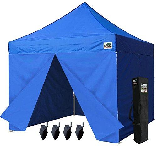 Canopy Tent Quick Gzaebo Shelter w/ Full Walls and Carry Bag, Blue (Blue Canopy Tailgate Tent)