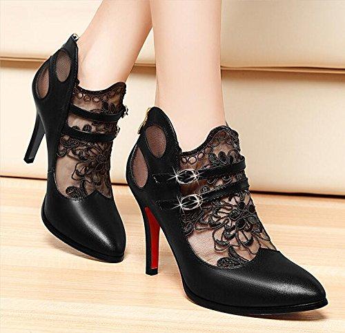 KHSKX-La Nueva Primavera Zapatos De Mujer De Encaje De 8Cm High-Heeled Zapatos De Punta Fina Con Boca Superficial Sexy Señoras Marea Solo Zapatos Zapatos. Black