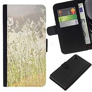 KingStore / Leather Etui en cuir / Sony Xperia Z2 D6502 / Verano campo del heno Ray Naturaleza Cálida