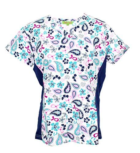 Green Town Scrubs Women's Medical Nursing Stretch Top Patterned Multi Pocket Uniform Shirt (Hibiscus Paisley Ribbon, Large)