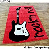 Ustide Guitar Rug Handmade Rug Wearproof Durable Floor Carpet Art Area Rug Cheap Modern Carpet Soft Rugs for Kids