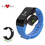 Antimi Fitness Tracker - Smart Watch IP67 Sweatproof Smart Band with Sleep Heart Rate Blood pressure monitoring blood oxygen monitoring Monitor Pedometer Sport Bracelet for Android ios Blue