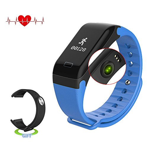 Antimi Fitness Tracker,Smart Watch IP67 Sweatproof Smart Band with Sleep Heart Rate Blood pressure monitoring blood oxygen monitoring Monitor Pedometer Sport Bracelet for Android ios Blue - Messenger Band