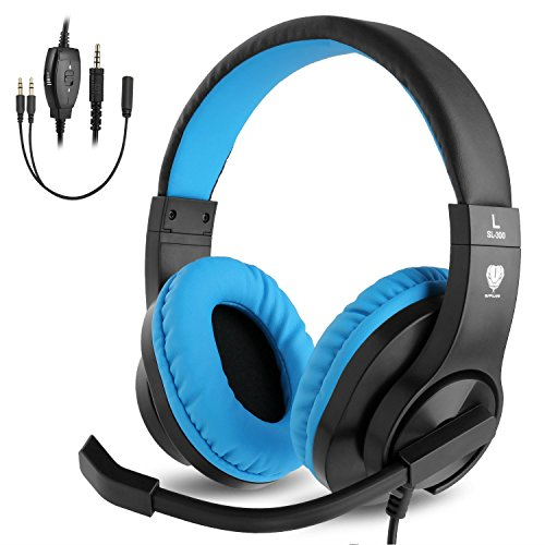 BlueFire 3.5mm PS4 Gaming Headset Bass Stereo Over-Ear Gaming Headphone with Microphone and Volume Control Compatible with PS4, New Xbox One, Xbox One S, Xbox One X, Nintendo Switch, PCBlue