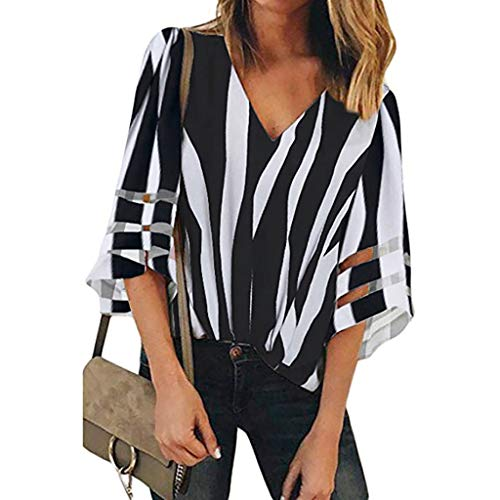Sanyyanlsy Women's Irregular Striped Printed Mesh Stitching Three Quarter Sleeve Blouse V-Neck Tank Tops T-Shirt Vest Black