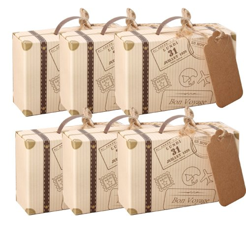 Awtlife 50pcs Suitcase Wedding Favor Box with Kraft Card and Burlap Twine for Wedding Party Birthday Baby Shower Decoration